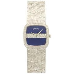Piaget Ladies White Gold Diamond Lapis Lazuli Wristwatch, circa 1970s