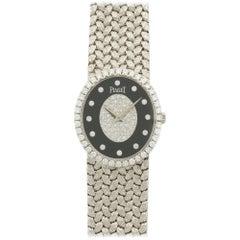 Piaget White Gold Diamond Onyx Bracelet Mechanical Wind Wristwatch Ref 9826