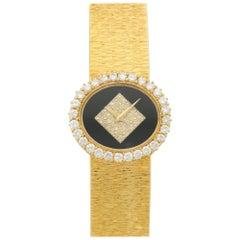 Piaget Ladies Yellow Gold Diamond Onyx Bracelet, circa 1970s