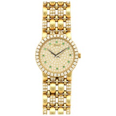 Piaget Ladies Yellow Gold Pave Diamond Emerald Wristwatch