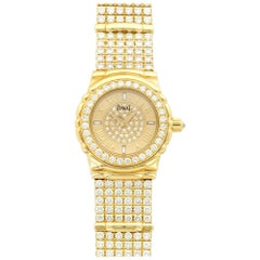 Piaget Ladies Yellow Gold Tanagra Pave Diamond Bracelet Wristwatch