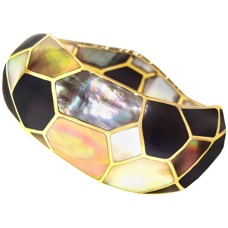 Ippolita Mother-of-Pearl and Black Onyx Mosaic Bangle Bracelet For Sale