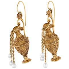 Etruscan Revival Gold Earrings