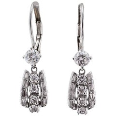 1950s Diamond Pendent Drop Earrings