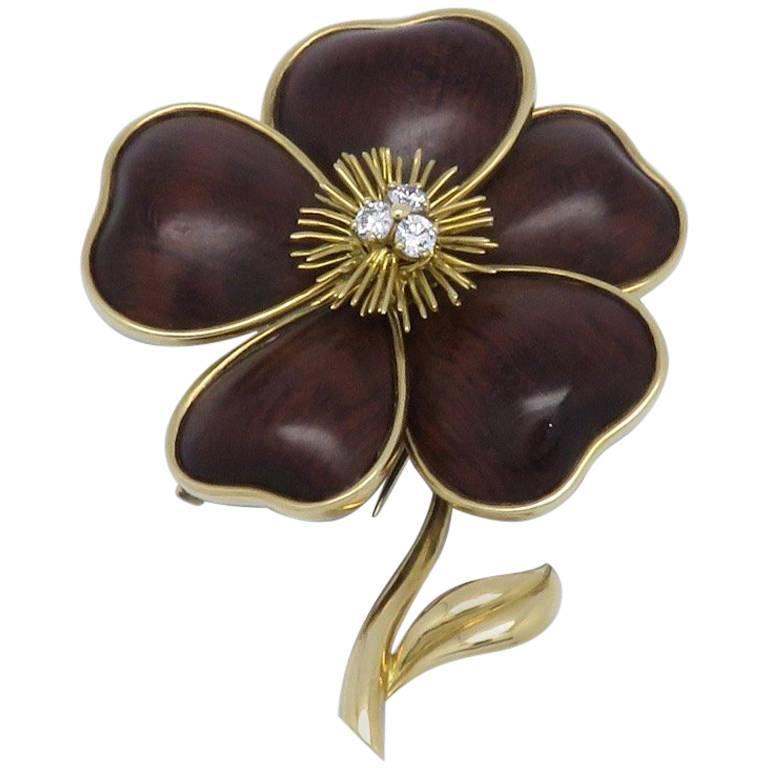 Van Cleef & Arpels Wood Diamond Gold Brooch