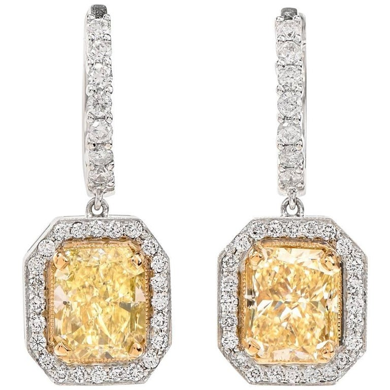 L 7.77 Carat Natura Yellow Diamond Gold Dangle Earrings