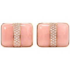 21st Century Large Pink Opal Diamond Rose Gold Men Cufflinks