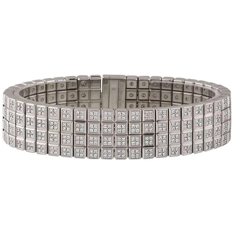 Chopard White Gold Ice Cube Diamond Bracelet For Sale at 1stdibs
