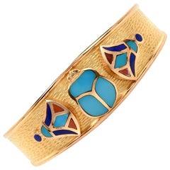 Egyptian Style Scarab Gold Cuff Bangle Bracelet