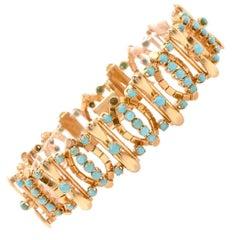Vintage Retro Turquoise 18 Karat Gold Link Bracelet