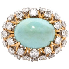 1970s David Webb Turquoise Diamond Cocktail 18 Karat Gold Ring