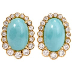Diamond Turquoise 18 Karat Gold Clip-Back Earrings