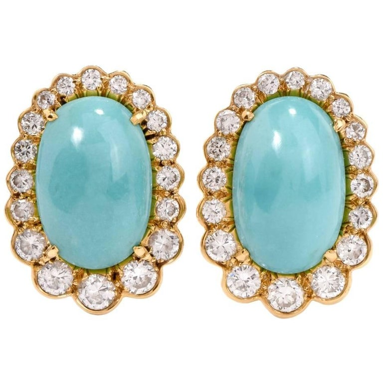 Diamond Turquoise 18 Karat Gold Clip-Back Earrings For Sale