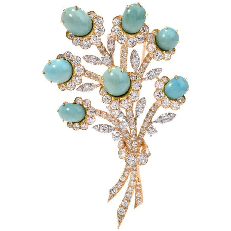 Van Cleef & Arpels Diamond Gold Flower VCA Pin Brooch For Sale
