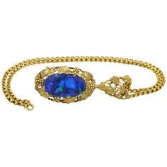Walton Australian Black Opal Pendant Necklace