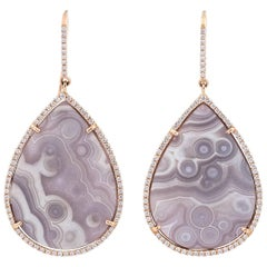 Karolin Ros Gold White Diamonds Dangle Stud Agate Earrings