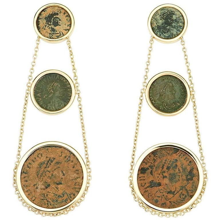 Dubini Roman Ancient Bronze Coin Chandelier Gold Earrings