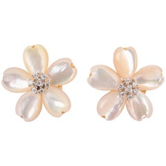 Flower Earrings with Mother-of-Pearl and Diamonds