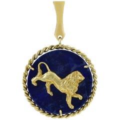 Leo Lapis Lazuli Gold Pendant Charm