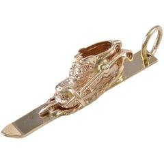 Gold Ski Boot and Ski Charm