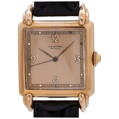 Universal Rose Gold Square dress manual wind Wristwatch, circa 1950s