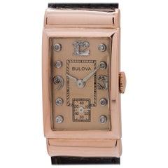 Bulova Pink Gold Diamond Dial tuxedo model manual wristwatch, circa 1950s