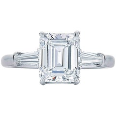 Spectacular Platinum 5.01 Carat Emerald Cut Ring