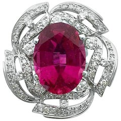 13.15 Carat Tourmaline Rubellite Diamond White Gold Ring