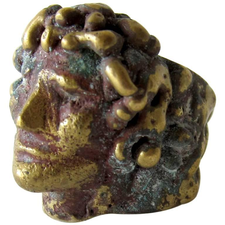 Pal Kepenyes Bronze Romanesque Face Ring For Sale