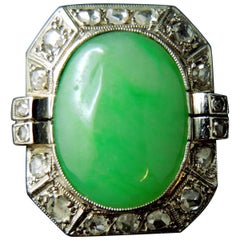 Art Deco French Diamonds and Imperial Jade Ring, circa 1930