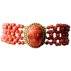 Antique French Victorian Woven Coral Bracelet
