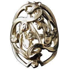 Art Nouveau Style Iris Flower Gold Ring