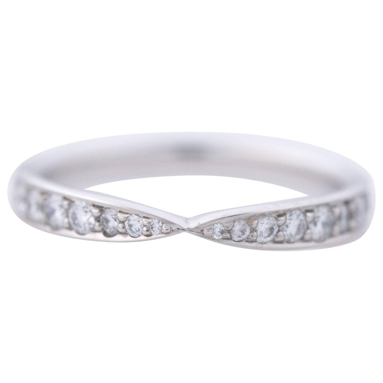 c1f0e73cabe Tiffany   Co. Harmony Bead-Set Diamond Ring Platinum Wedding Band For Sale