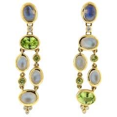 Temple St. Clair Diamond Moonstone Peridot Gold Earrings