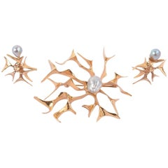 Ronald Pearson Modernist Gold Brooch and Earrings