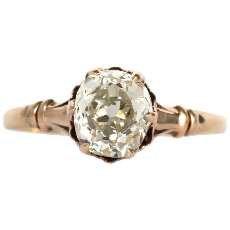1890 Victorian Yellow Gold 1 50 Carat Diamond Engagement Ring For
