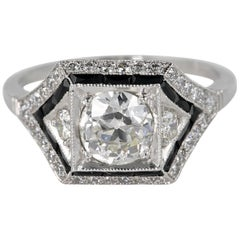 Art Deco 1.60 Carat Diamond Onyx Insert Platinum Solitaire Ring