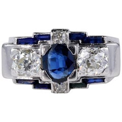 Art Deco Natural No Heat Sapphire 1.65 Carat G /VVS Old Diamond Platinum Ring
