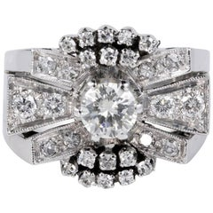1.45 Carat Diamond Art Deco Bow Cocktail Ring