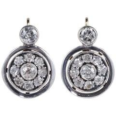 Edwardian 2.10 Carat Diamond Target Design Drop Earrings
