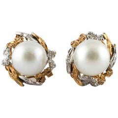 Diamonds Australian Pearls Rose Gold Drop Earrings