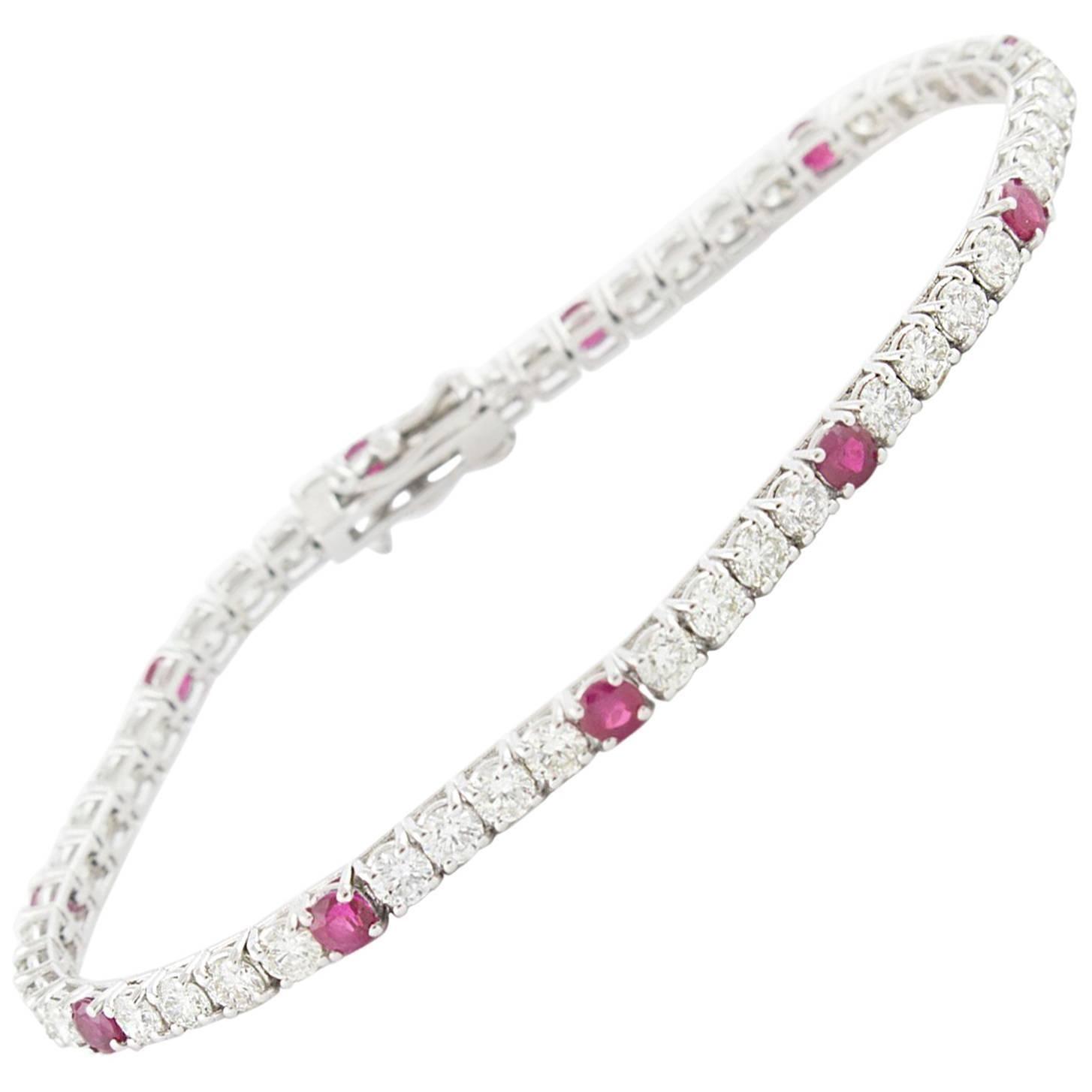 Diamond Ruby White Gold Tennis Bracelet