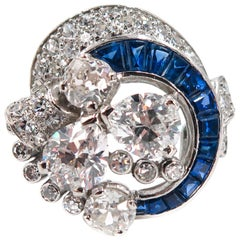 Sapphire and Diamond Estate Platinum Cocktail Ring