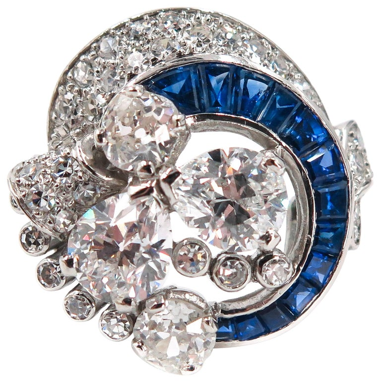 Sapphire and Diamond Estate Platinum Cocktail Ring