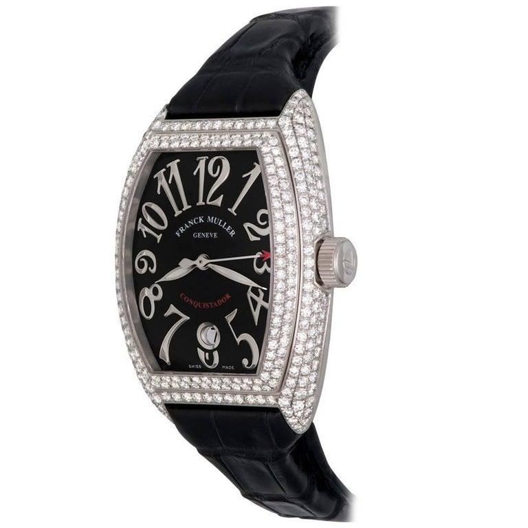 Franck Muller White Gold Diamond Conquistador Automatic Wristwatch