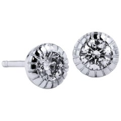 H & H 0.39 Carat Diamond Ten Prong Bezel Set Stud Earrings