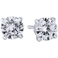 H & H 1.40 Carat Diamond Stud Earrings