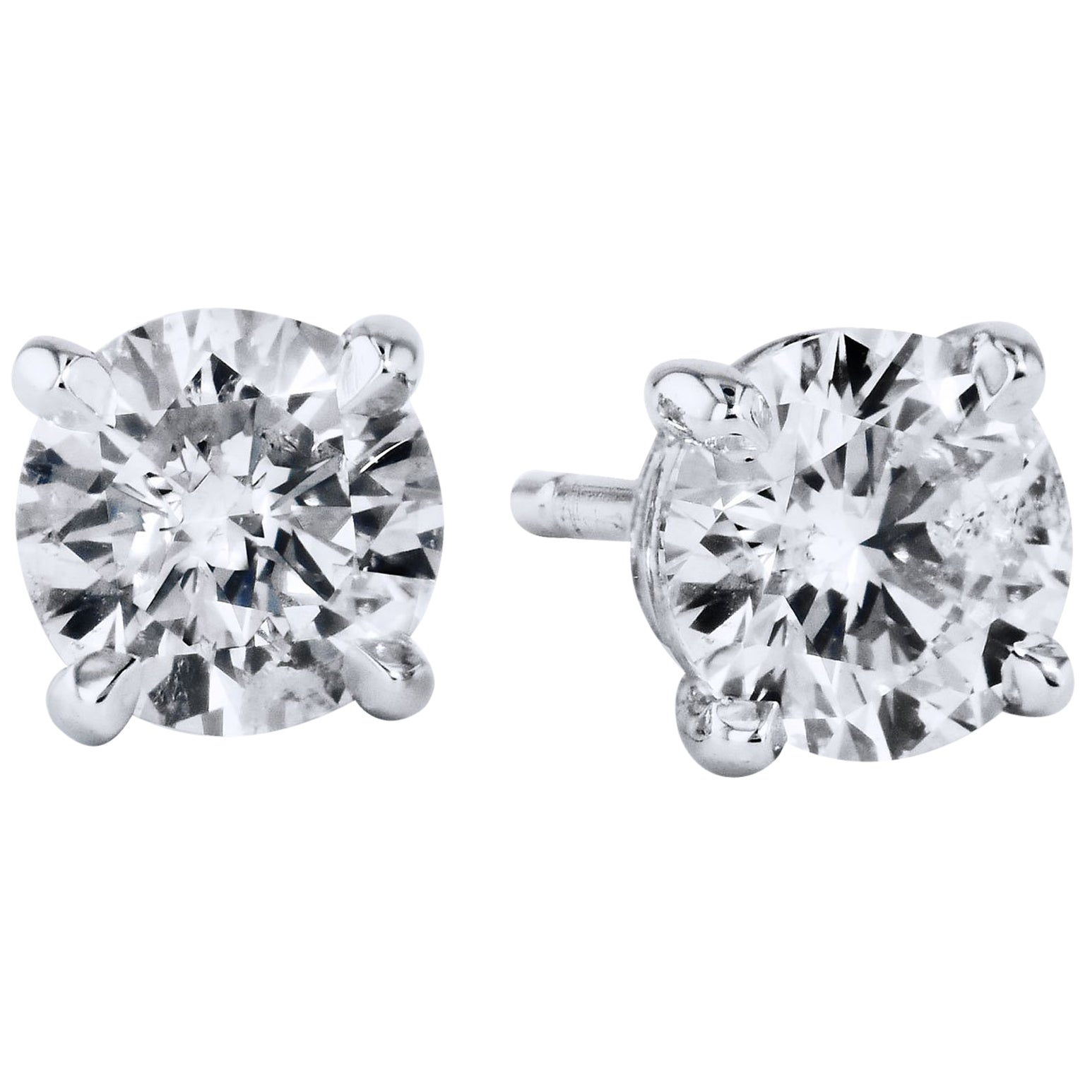 4 40 Carat GIA Diamond Solitaire Stud Earrings For Sale at 1stdibs
