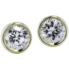 H & H 0.38 Carat Bezel-Set Diamond Stud Earrings
