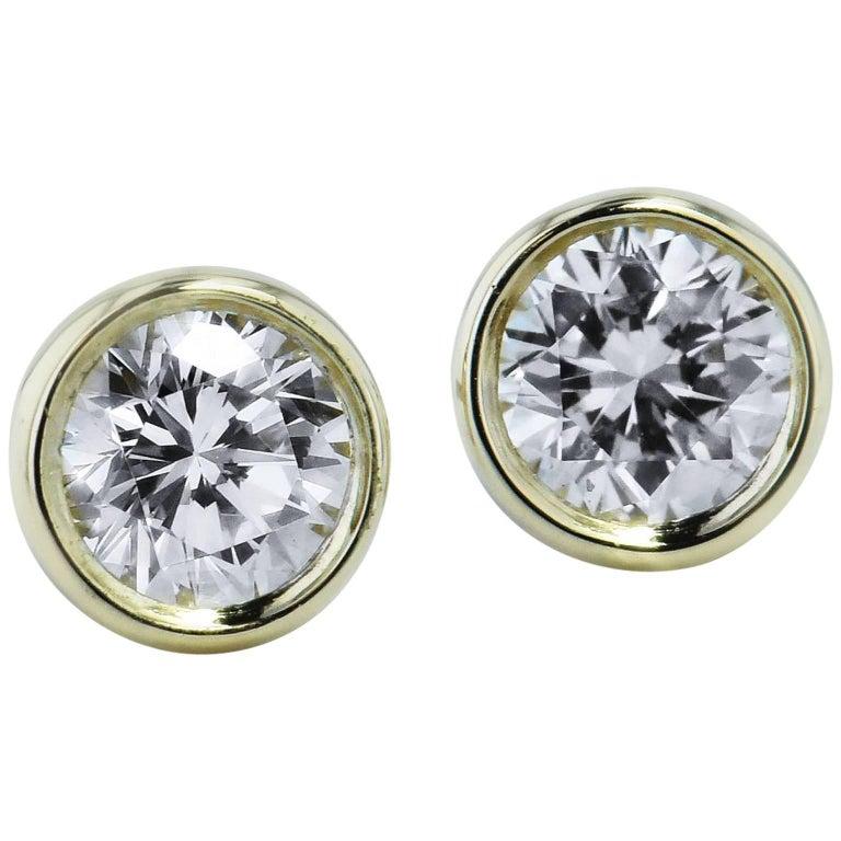H & H 0.38 Carat Bezel-Set Diamond Stud Earrings